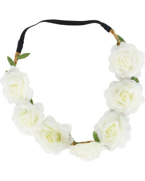 Shyanne Women's White Large Rose Headband , White, hi-res