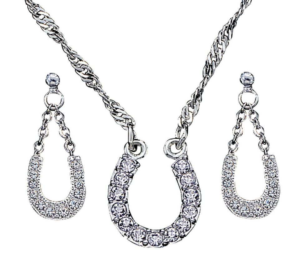 Montana Silversmiths Crystal Clear Lucky Horsehoe Necklace & Earrings Set, Silver, hi-res