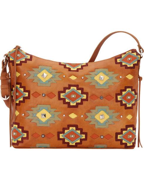 American West Women's Adobe Allure Zip-Top Shoulder Bag, Tan, hi-res