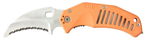 5.11 Tactical LMC Curved Rescue Blade Knife (Clamcard), Orange, hi-res