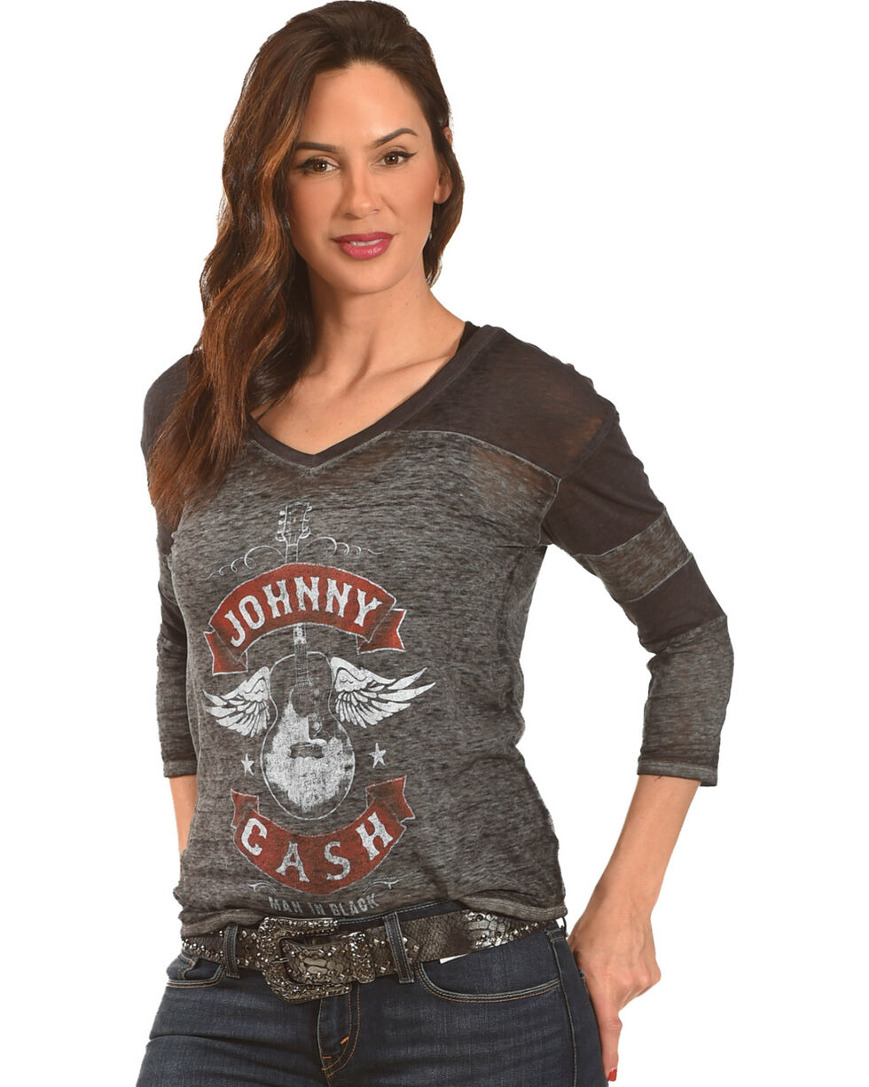 Merch Traffic Women's Johnny Cash Winged Guitar T-Shirt, Charcoal, hi-res
