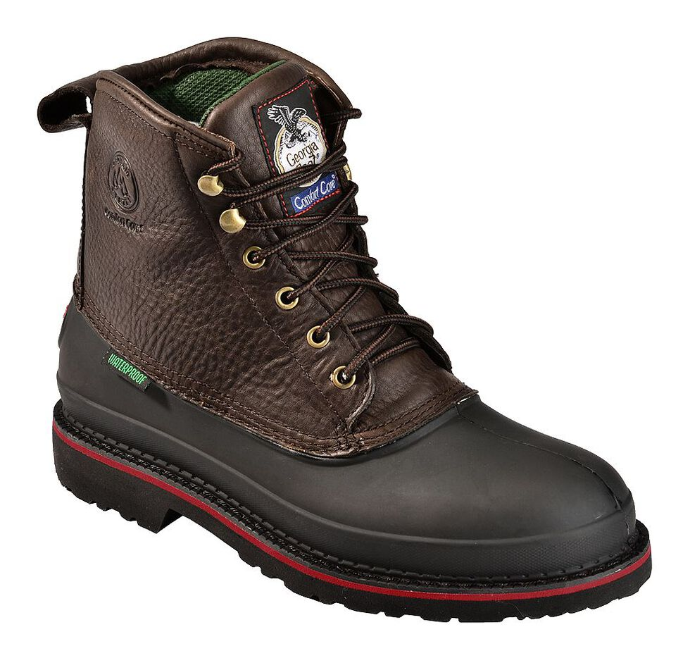 "Georgia Boot Mud Dog Waterproof 6"" Lace-Up Work Boots - Steel Toe, Brown, hi-res"