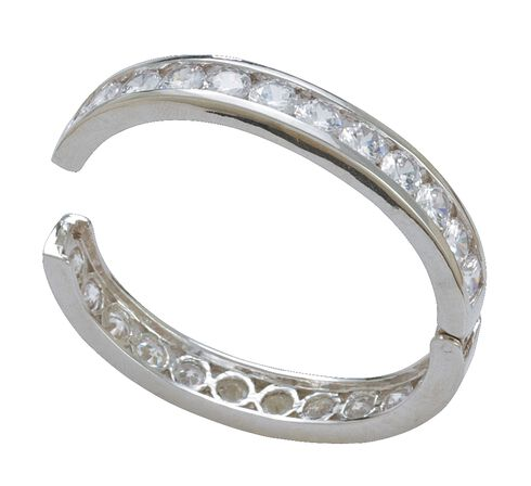 Montana Silversmiths Rhinestone Embellished Hinged Bangle Bracelet, Silver, hi-res