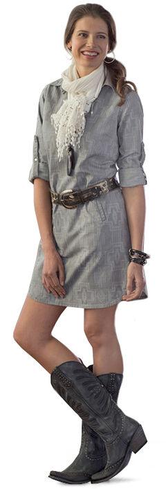 Ryan Michael Women's Aztec Laser Cut Dress, Charcoal Grey, hi-res