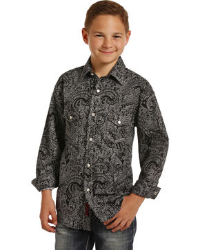 Rock & Roll Cowboy Boys' Black Paisley Print Long Sleeve Snap Shirt, Black, hi-res