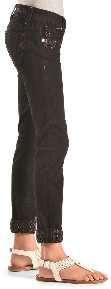 Miss Me Girls' Black Embellished Cuff Skinny Jeans , Black, hi-res