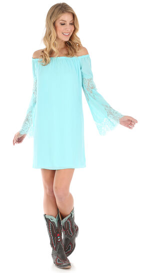 Wrangler Women's Light Blue Bell Sleeve Crochet Trim Dress , Light Blue, hi-res