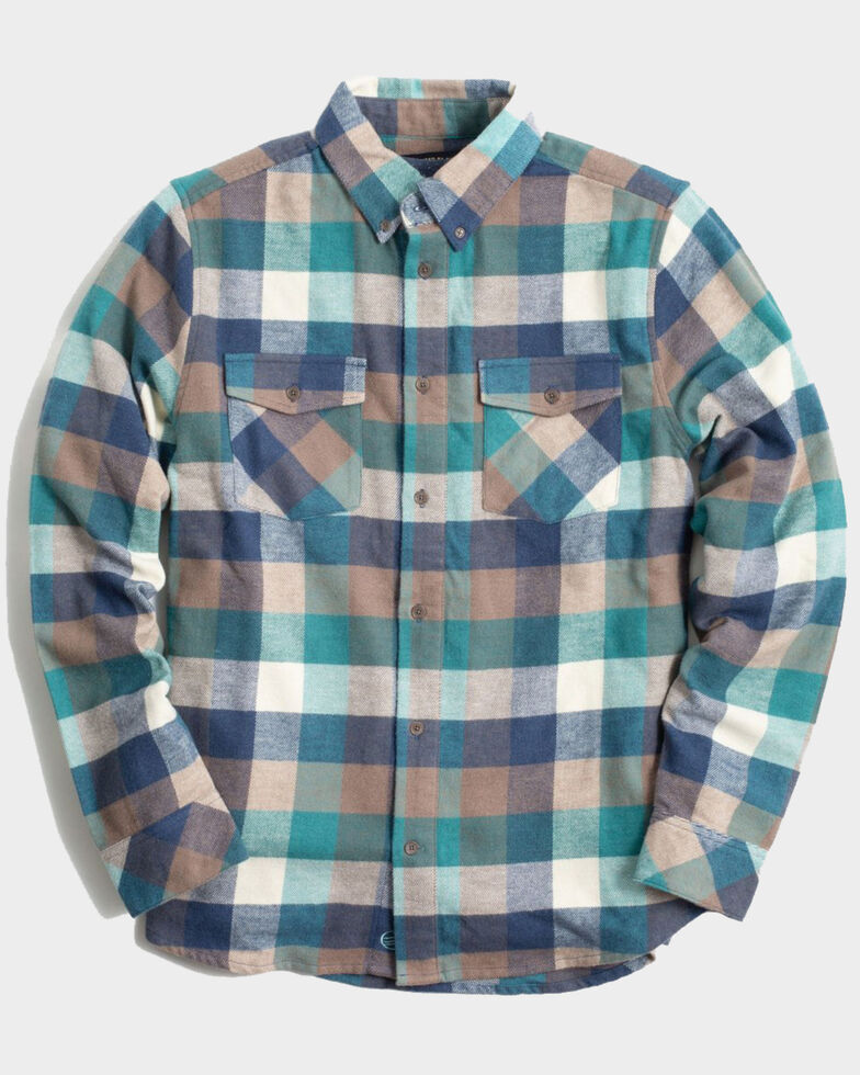 United By Blue Men's Brownstone Responsible Striped Long Sleeve Western Flannel Shirt , Turquoise, hi-res