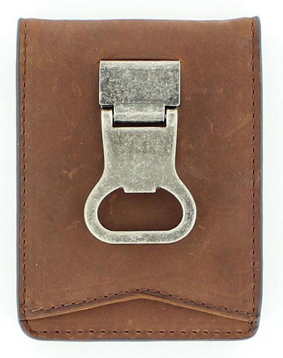 Nocona Money Clip Bi-Fold Wallet, Med Brown, hi-res