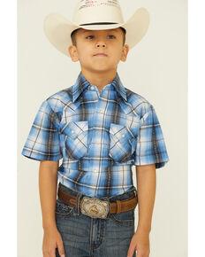 Ely Walker Boys' Blue Dobby Plaid Short Sleeve Snap Western Shirt , Blue, hi-res