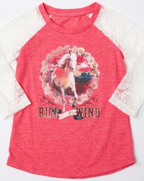 Shyanne Toddler Girls' Free Spirit Horse Raglan Peasant Top , Pink, hi-res