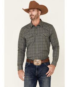 Gibson Men's Square Off Plaid Long Sleeve Snap Western Shirt , Medium Grey, hi-res