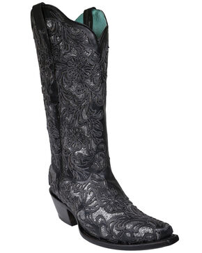 Corral Women's Silver Glitter Inlay Western Boots - Snip Toe, Black, hi-res