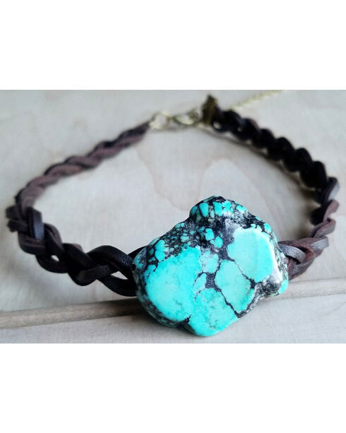 Jewelry Junkie Braided Leather Choker Necklace with Blue Turquoise Slab , Turquoise, hi-res