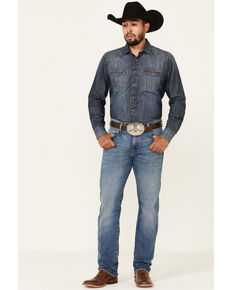 Wrangler Retro Men's Holstein Medium Wash Stretch Slim Straight Jeans - Tall , Blue, hi-res