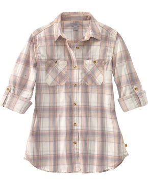 Carhartt Women's Huron Plaid Long Sleeve Shirt, Peach, hi-res