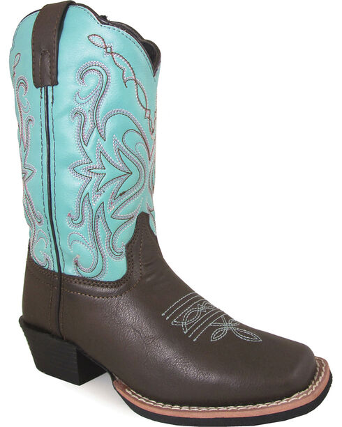Smoky Mountain Youth Girls' Del Ray Western Boots - Square Toe , Brown, hi-res