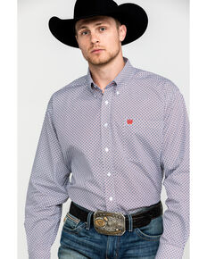 Cinch Men's White Geo Print Button Long Sleeve Western Shirt , White, hi-res