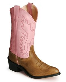 Old West Youth Girls' Pink Cowgirl Boots, Tan, hi-res