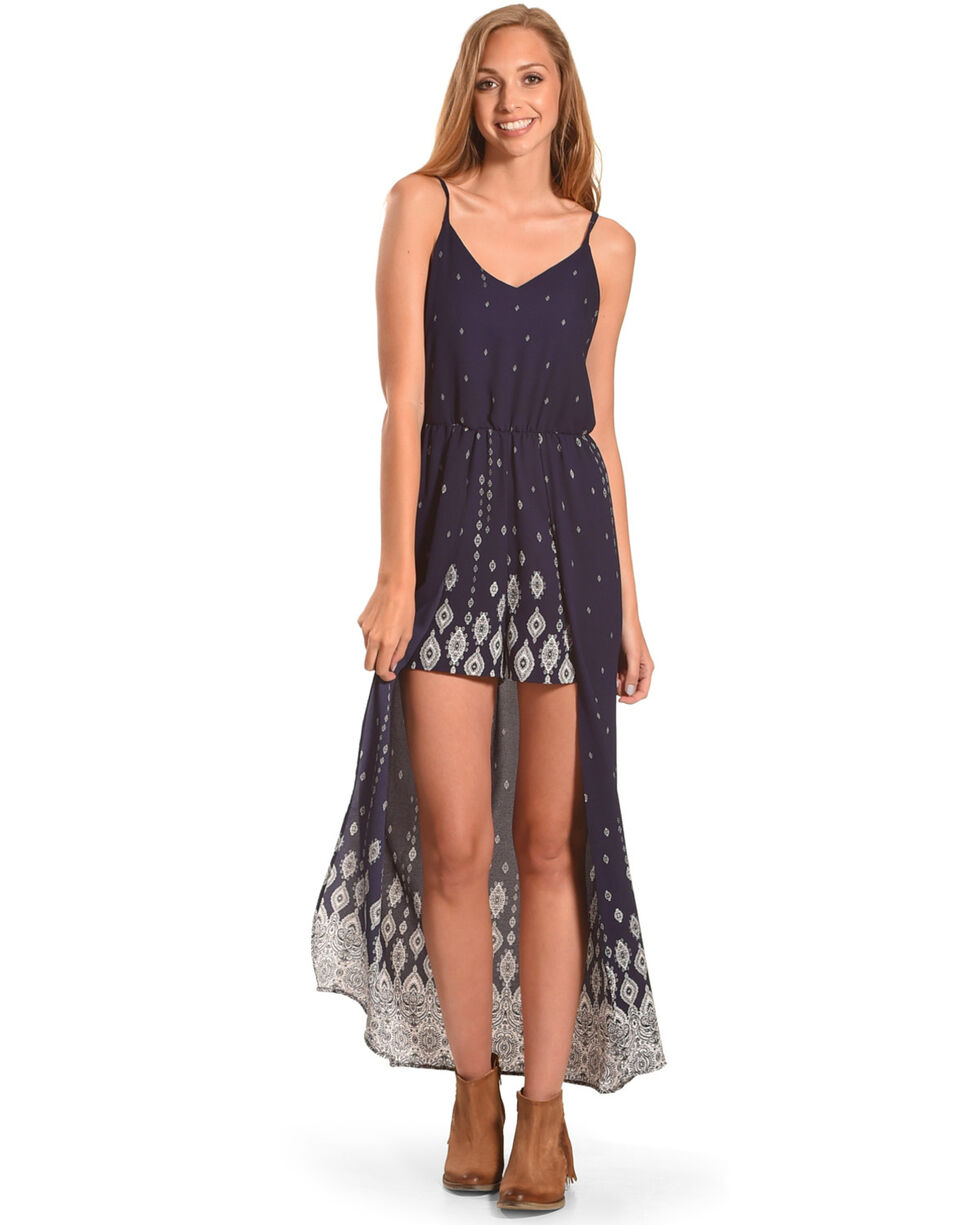 CES FEMME Women's Navy Patterned Maxi Romper , Navy, hi-res