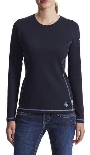 Ariat Women's Flame Resistant Navy Long Sleeve Polartec Top, Navy, hi-res