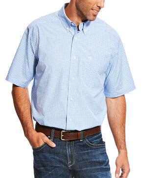 Ariat Men's Blue Marrow Short Sleeve Performance Shirt , Blue, hi-res