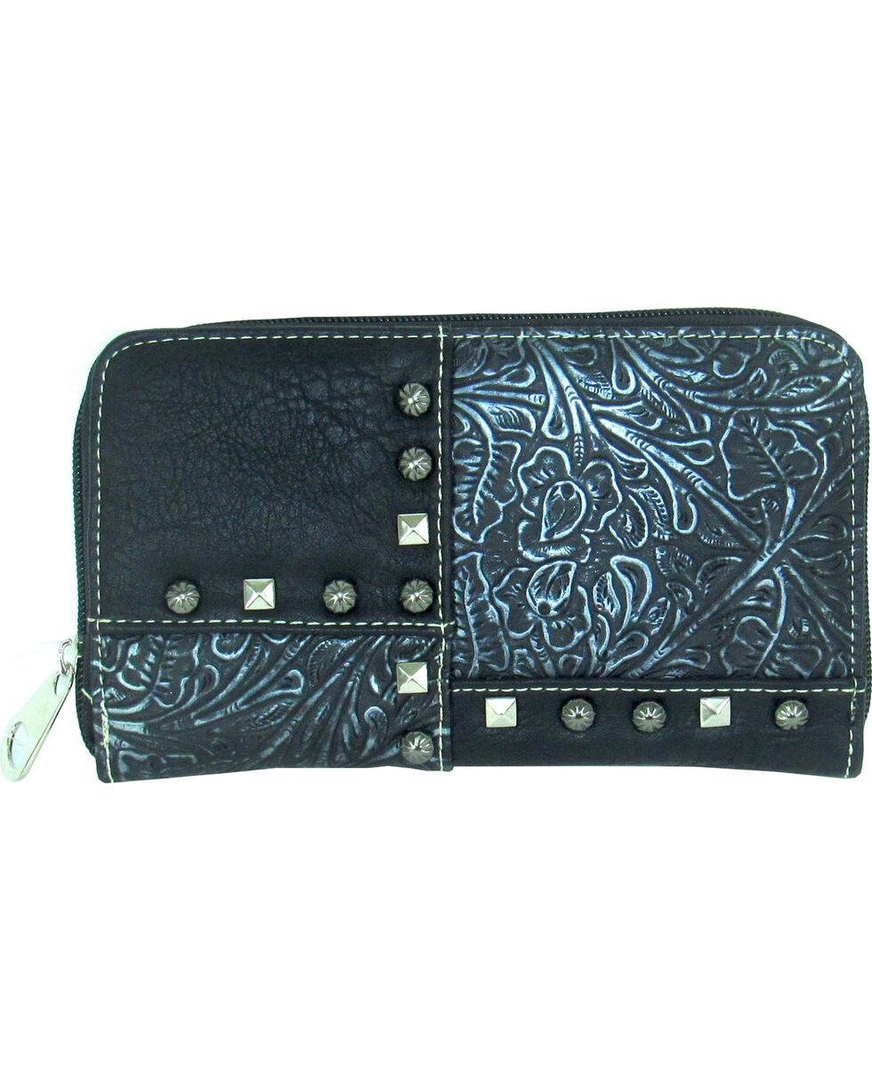 Savana Women's Faux Leather Zip Around Patchwork Wallet , , hi-res
