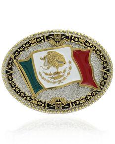 Montana Silversmiths Men's Grand Mexican Flag Attitude Buckle, Silver, hi-res