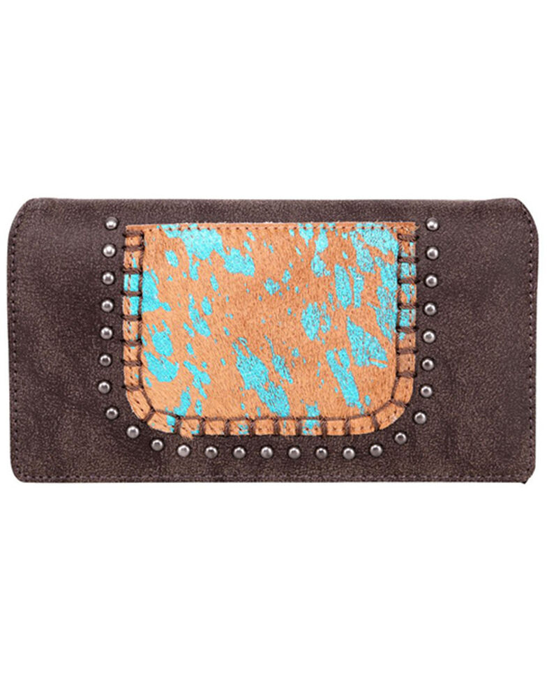 Trinity Ranch Women's Hair-On Turquoise Panel Wallet, Dark Brown, hi-res