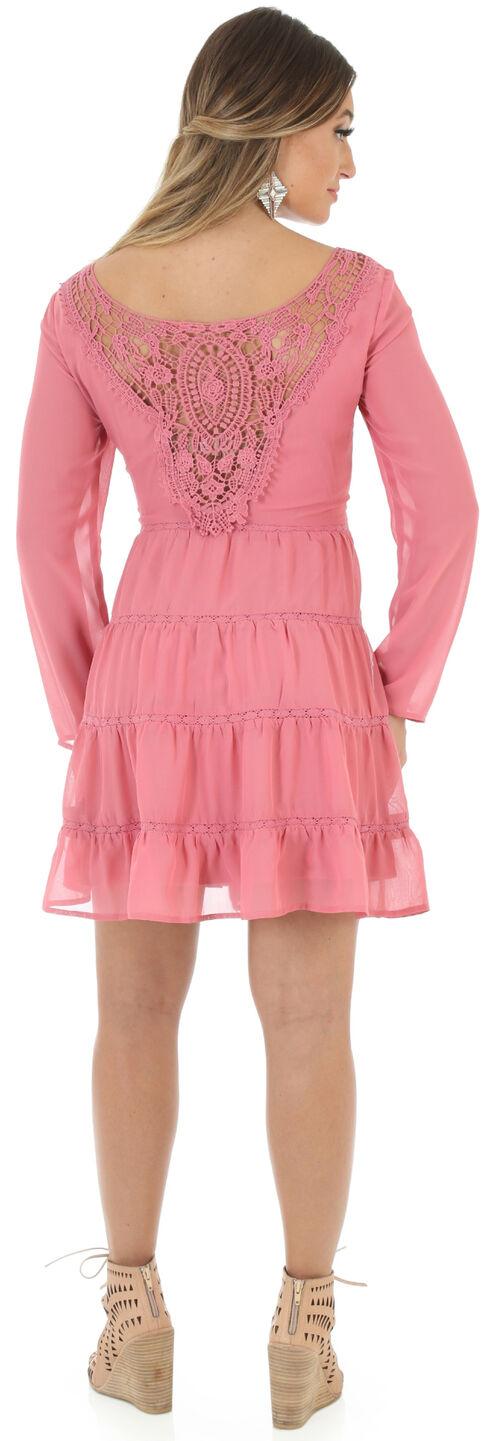 Wrangler Women's Scoop Neck Crochet Back Dress, Pink, hi-res