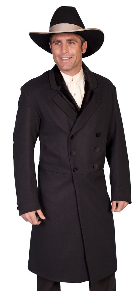 WahMaker by Scully Double-Breasted Wool Frock Coat - Big & Tall, Black, hi-res