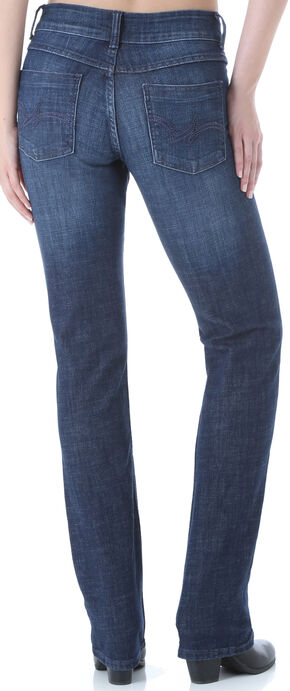 Wrangler Women's Dark Wash Stretch Denim Jeans - Straight Leg , Dark Blue, hi-res