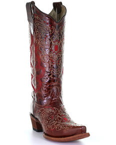 Corral Women's Shedron Embroidery Western Boots - Snip Toe, Tan, hi-res