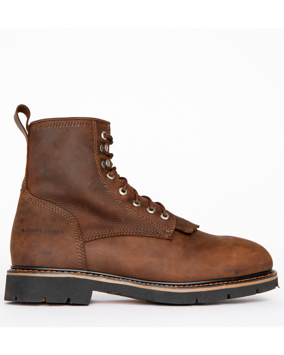 """Cody James Men's 8"""" Lace Up Kiltie Work Boots - Composite Toe, Brown, hi-res"""