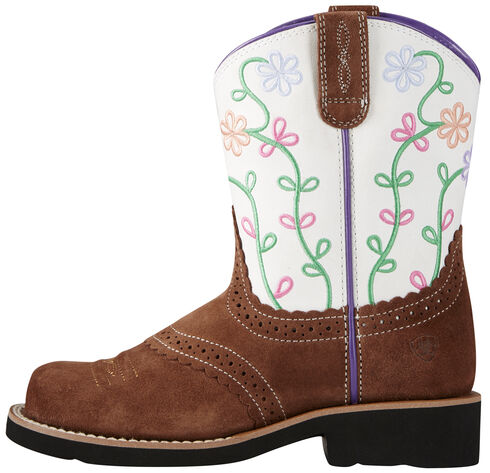 Ariat Fatbaby Girl's Brown Blossom Cowgirl Boots - Round Toe, , hi-res