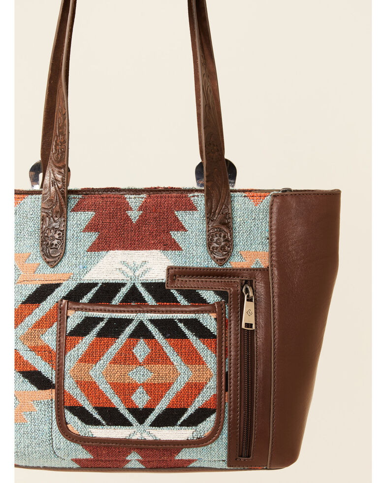 Shyanne Women's Aztec Embroidered Tote Bag, Brown, hi-res