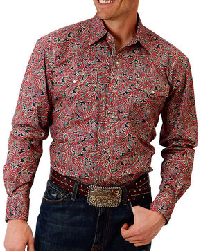 Roper Men's Red Paisley Print Long Sleeve Western Shirt, Red, hi-res