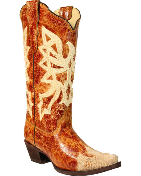 Corral Women's Orange Embroidered Western Boots - Snip Toe , Orange, hi-res