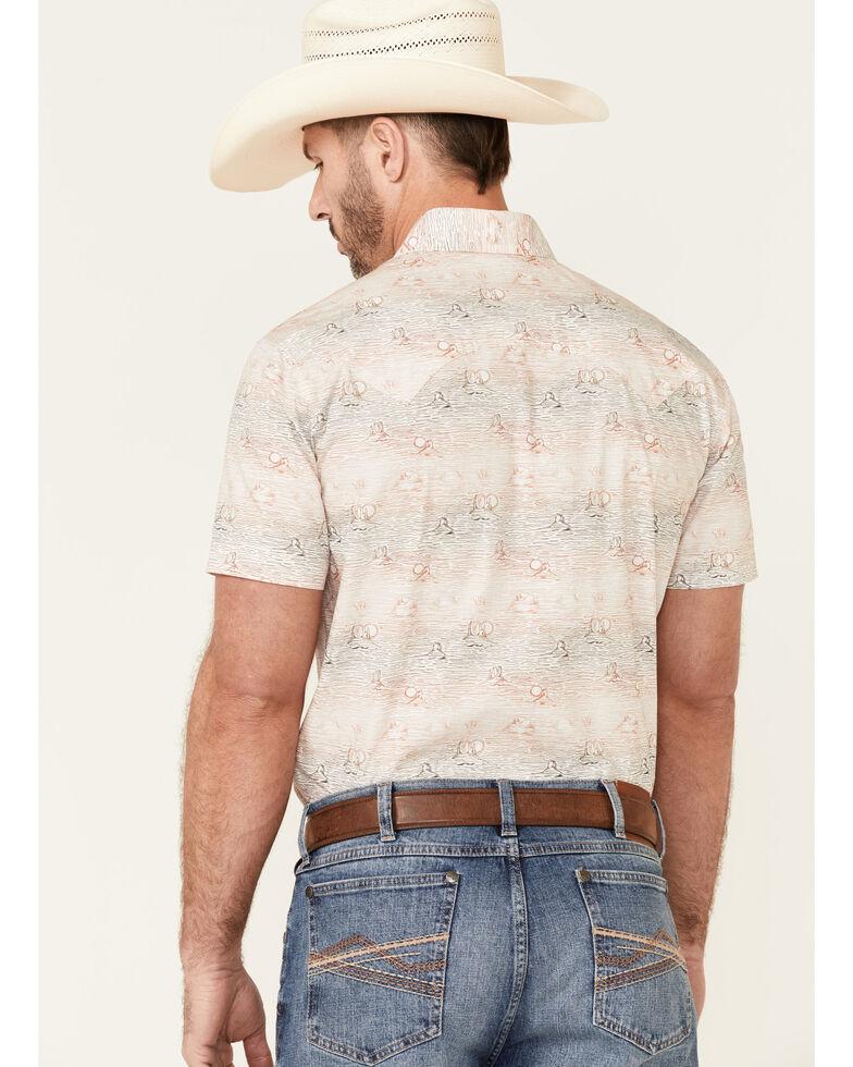 Rock & Roll Denim Men's Desert Scene Print Short Sleeve Snap Western Shirt , Slate, hi-res