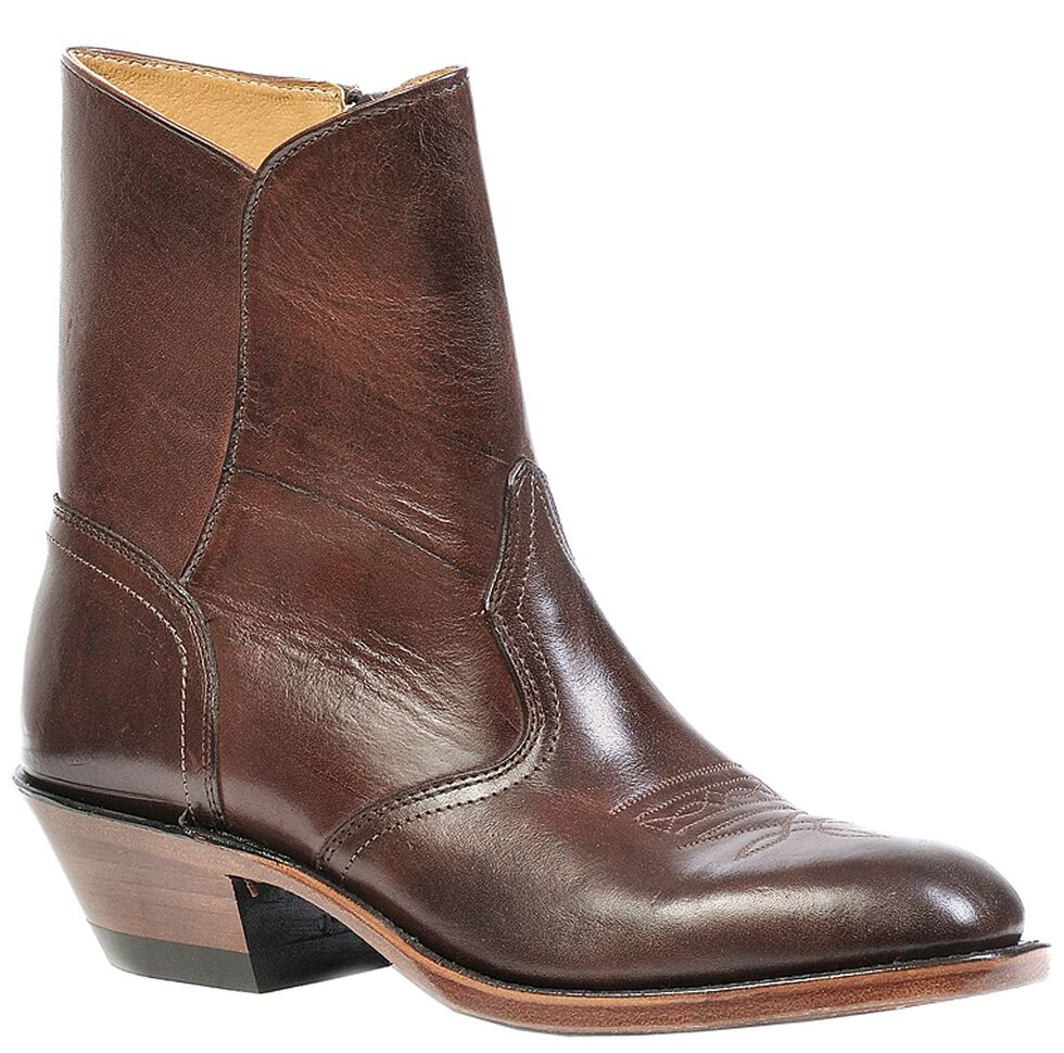 Boulet Western Dress Side Zip Cowboy Boots - Round Toe, Brown, hi-res