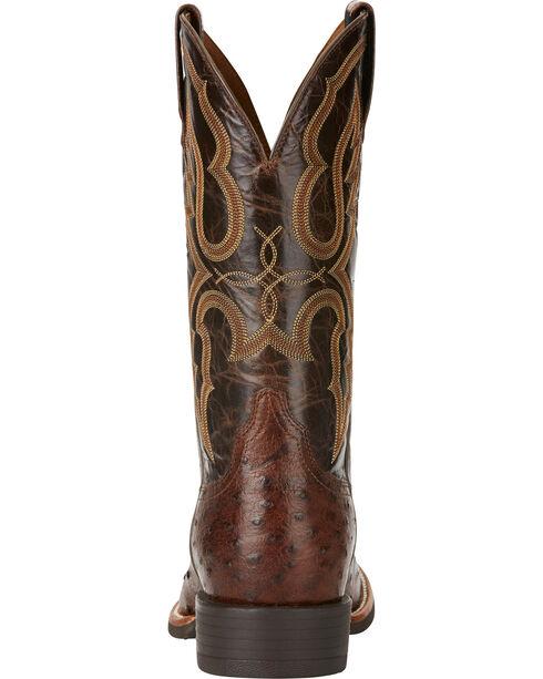 Ariat Men's Quantum Pro Full Quill Ostrich Cowboy Boots - Round Toe, Dark Brown, hi-res