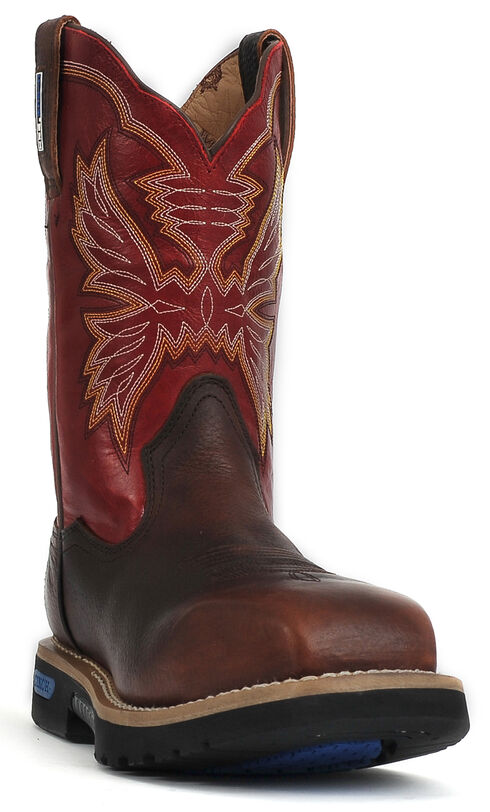 """Cinch® WRX Men's Waterproof Steel Toe 11"""" Work Boots, Brown, hi-res"""