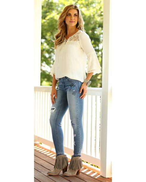 Wrangler Women's Cream Long Sleeve Peasant Top , Cream, hi-res