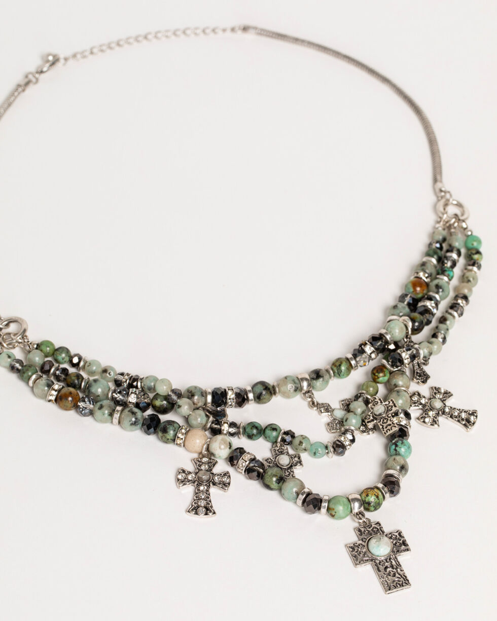 Shyanne Women's Jade Sea Multi-Strand Cross Jewelry Set, Silver, hi-res