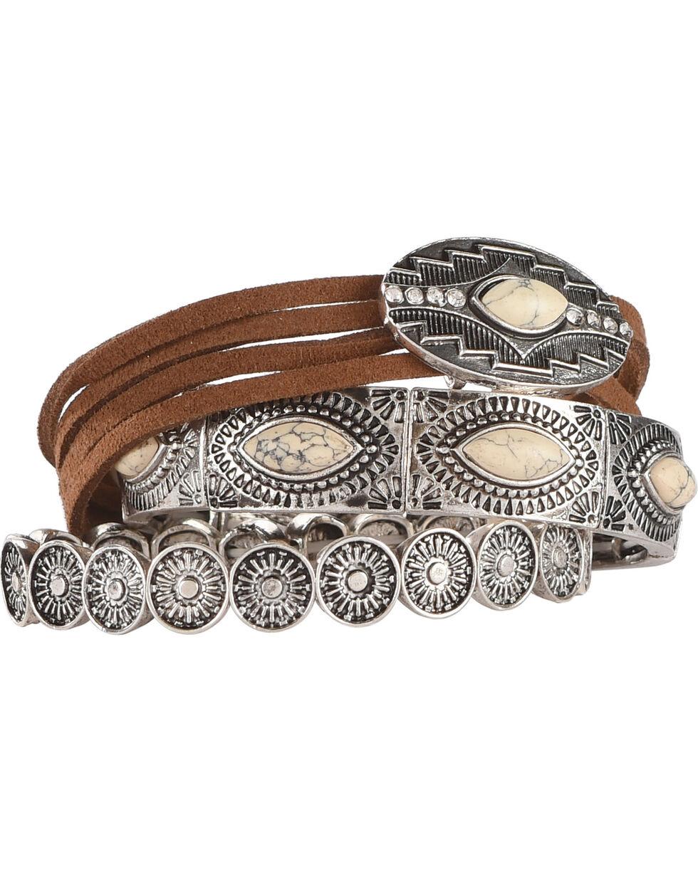 Shyanne Women's White Turquoise 3 Piece Bracelet Set, Silver, hi-res