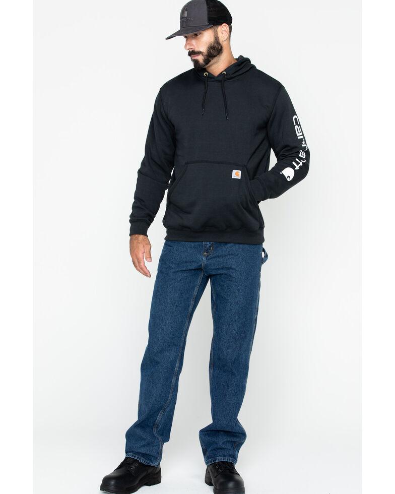 Carhartt Men's Logo Hooded Work Sweatshirt - Big & Tall , Black, hi-res
