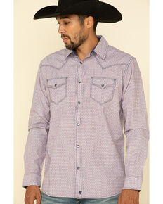 Moonshine Spirit Men's Bottle Rocket Geo Print Long Sleeve Western Shirt , White, hi-res