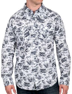 Moonshine Spirit Men's Paisley Print Western Shirt, White, hi-res