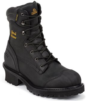"Chippewa Waterproof & Insulated 8"" Lace-Up Work Boots - Composition Toe, Black, hi-res"