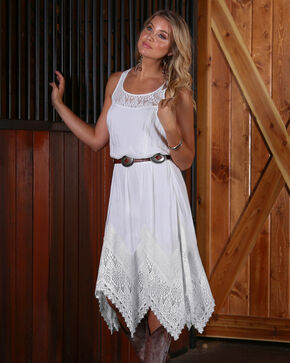 Wrangler Women's White Handkerchief Hem Dress , White, hi-res